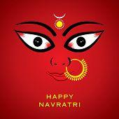 indian godess durga devi face background vector