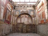 Ancient painted wall frescoes at Herculaneum, Italy