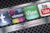 Belgrade - August 30, 2014 Social Media Icons Vimeo, Vine And Other On Smart Phone Screen Close Up
