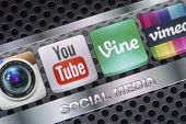 Belgrade - August 30, 2014 Social Media Icons Youtube, Vimeo, Vine And Other On Smart Phone Screen C