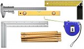 Various measuring tools. Including angle, level, ruler,caliper.