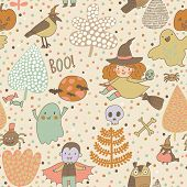 Cute cartoon Halloween seamless pattern made of children in holiday costumes and holiday symbols in
