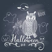 Stylish trick or treat card in vector. Stylish halloween background in cartoon style with cute owl a