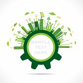 creative green city design in gear concept vector