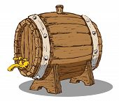 foto of drawing beer  - Vector hand draw doodle sketch wooden beer barrel cartoon - JPG
