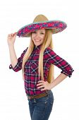 Funny girl with sombrero in concept