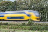 Speeding train in landscape