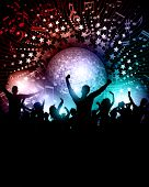 Party crowd background with music notes and mirror ball
