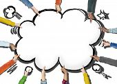 Group of Hands Holding Speech Bubble Cloud Shape