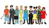 stock photo of air hostess  - Diverse Children with Various Occupations Concept - JPG