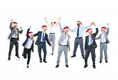 Group of Happy Business People Wearing Santa Hat in Different Gestures