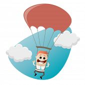 funny businessman with parachute