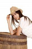 Brunette Cowgirl Lean On Barrel Look Smile