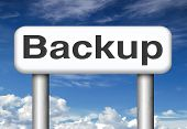 Backup data and software on copy in the cloud on a harddrive disk on a computer or server for file security. Extra copies to restore lost data from crashed disks.