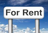 For rent banner, renting a house, flat, apartment or other real estate sign. Home or room to let