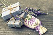 Lavender Soap And Scented Sachets With Fresh Flowers