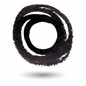 Abstract Black Circle Watercolor Background With Brush Stroke