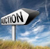 Online auction sign bid and buy here and now
