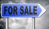 For sale sign, selling a house apartment or other real estate label. internet shopping at online web