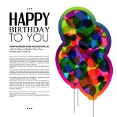 Vector birthday card with color balloons and text.