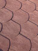 Closeup of bitumen shingle roof pattern
