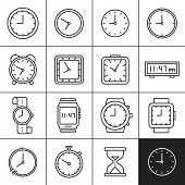 Clock and watch icons. Measuring and displaying time vector illustrations. Simplines series