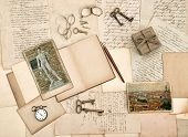 Antique Accessories, Old Letters, Diary Book And Photos From Florence