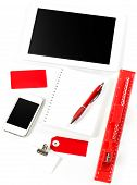 Office And School Supplies Over White Background
