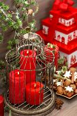 Christmas Decorations, Gift Box, Red Candles, Cookies, Nuts