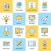Advertising Flat Line Icons