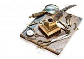 Antique Keys, Pocket Watch, Ink Pen, Loupe, Book
