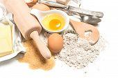 Baking Ingredients. Dough Preparation. Food Background