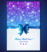 Vintage Greeting Card With Snowflakes And Purple Bow.