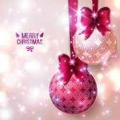 picture of ribbon bow  - Purple Christmas baubles on light background - JPG