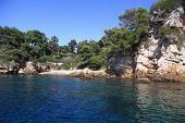 Rocky Coastline On The Mediterranean Sea Of Antibes Bay