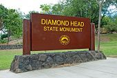 Diamond Head State Monument Park Sign Close Honolulu On Oahu Hawaii