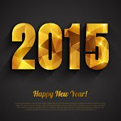 Happy New Year 2015 Golden Greeting Card