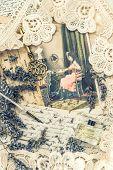 Vintage Ink Pen, Key, Perfume, Lavender Flowers And Old Love Letters