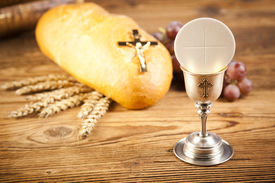 stock photo of holy  - Holy Communion Bread - JPG