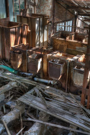 image of ore lead  - Old abandoned mining factory unit processing lead - JPG