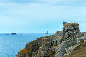 picture of promontory  - Lighthouses at the promontory of Pointe du Raz Finistere department of Britanny  - JPG