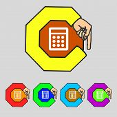 Calculator Sign Icon. Bookkeeping Symbol. Set Colourful Buttons. Vector
