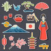 Japan icons and symbols set.