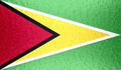 Guyana flag on metallic metal texture