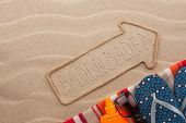 Baden Baden  Pointer And Beach Accessories Lying On The Sand