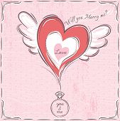 Pink Valentine Card With Heart And Engagement Ring