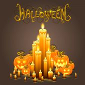 Cover Halloween pumpkin and candles