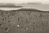 foto of graveyard  - Scottish landscape with graveyard and coastline - JPG