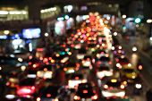 Blurred Image Of Trafficat Night In Thailand
