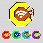Wifi Sign. Wi-fi Symbol. Wireless Network Icon. Zone Set Colourful Buttons Vector